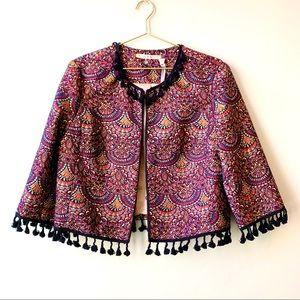 NWT Chelsea & Violet Printed Fringe Jacket